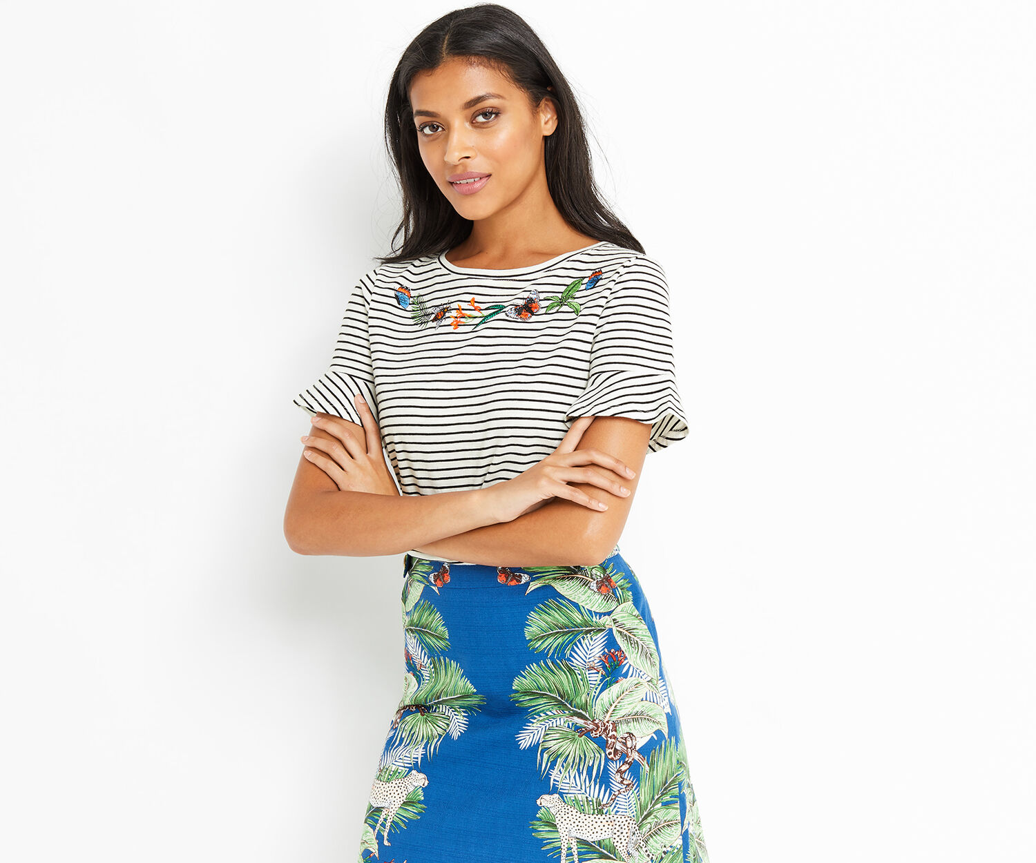 Oasis, ZSL EMBROIDERED STRIPE BUG TEE Multi 1