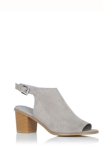 Oasis, Perrie Peeptoe Block Heel Mid Grey 0