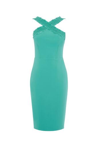 Oasis, LACE TRIM PENCIL DRESS Dark Blue 0
