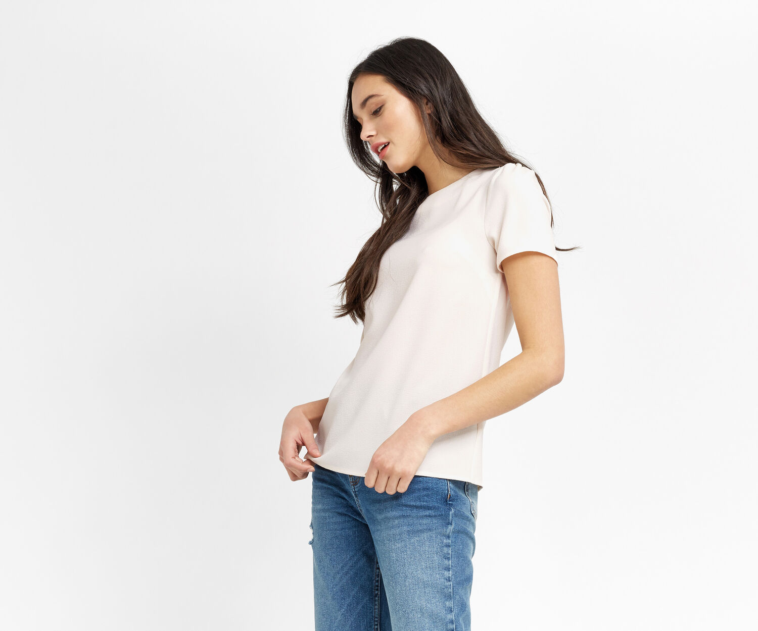 Oasis, CREPE TOP Off White 1