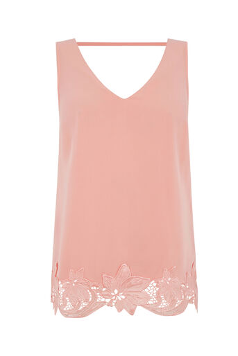 Oasis, V FRONT AND BACK LACE VEST Coral 0