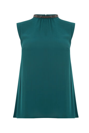 Oasis, EMBELLISHED PLEAT BACK TOP Teal Green 0