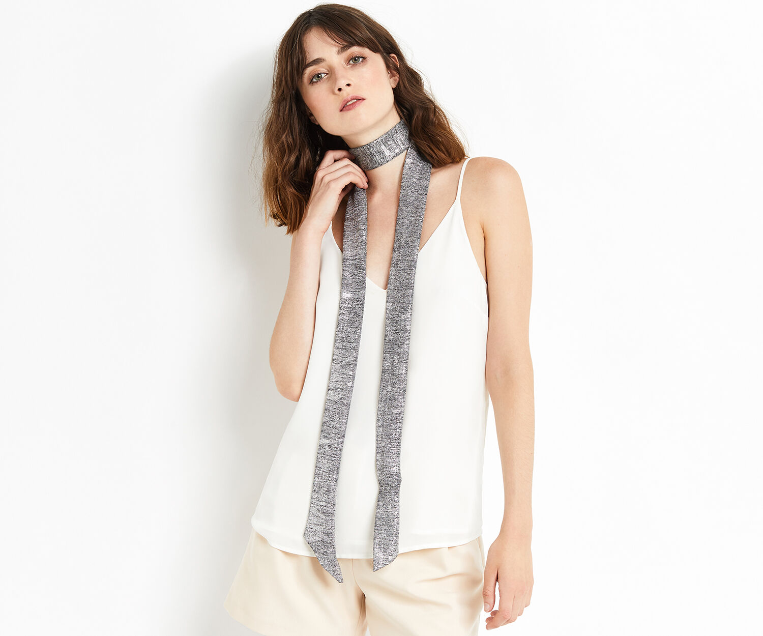 Oasis, SKINNY SCARF Silver 1