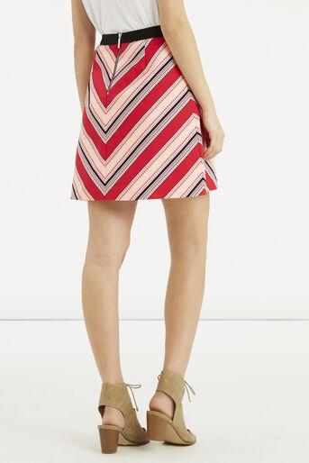 Oasis, Chevron Diamond Stripe Skirt Multi Red 3