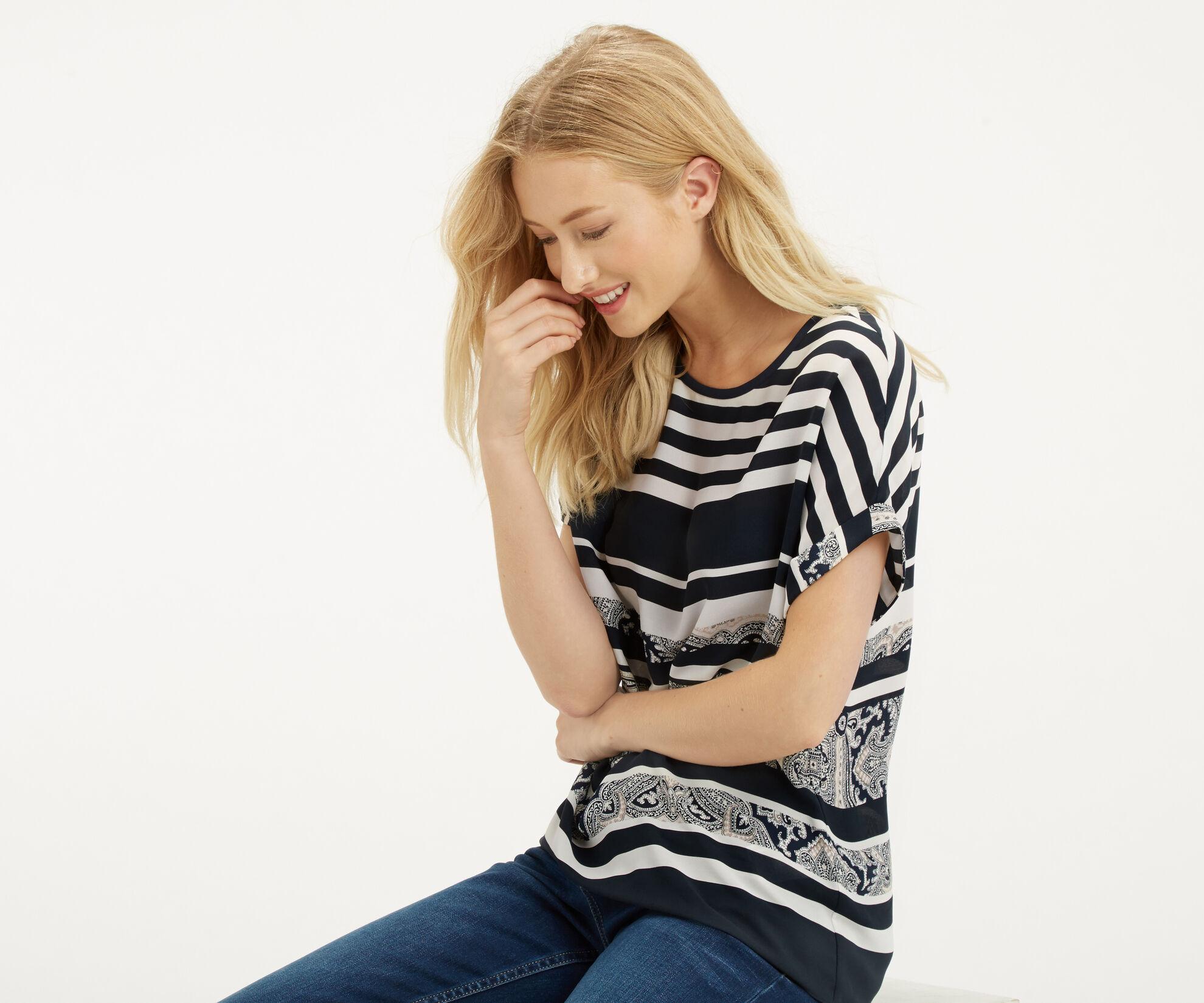 Oasis, Stripe Paisley T-Shirt Multi Blue 1