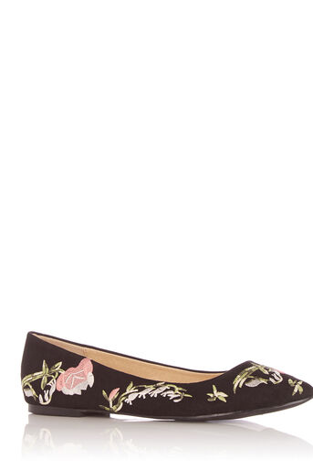 Oasis, ROSE EMBROIDERED FLAT POINT Black 0