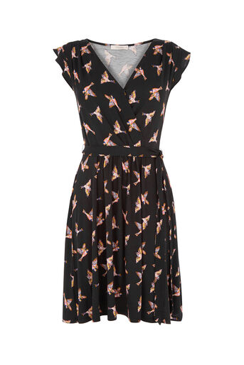 Oasis, Bird Wrap Skater Dress Black 0