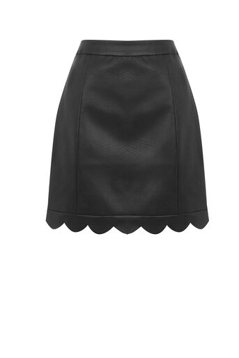 Oasis, FAUX LEATHER SCALLOP SKIRT Black 0