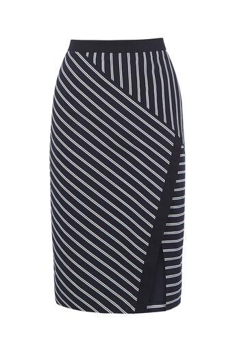 Oasis, Stripe Wrap Pencil Skirt Multi 0