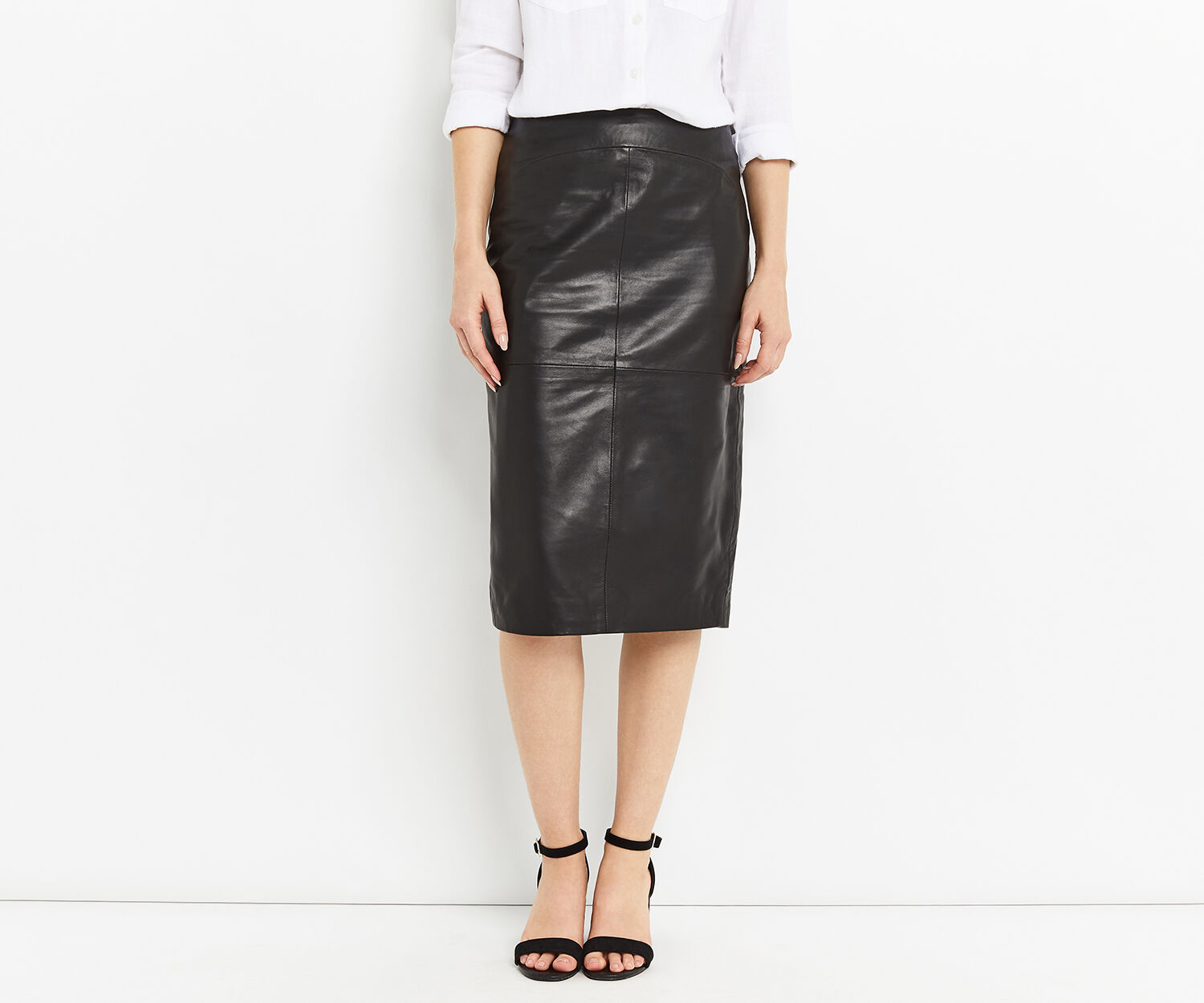 Oasis, LEATHER PENCIL SKIRT Black 1