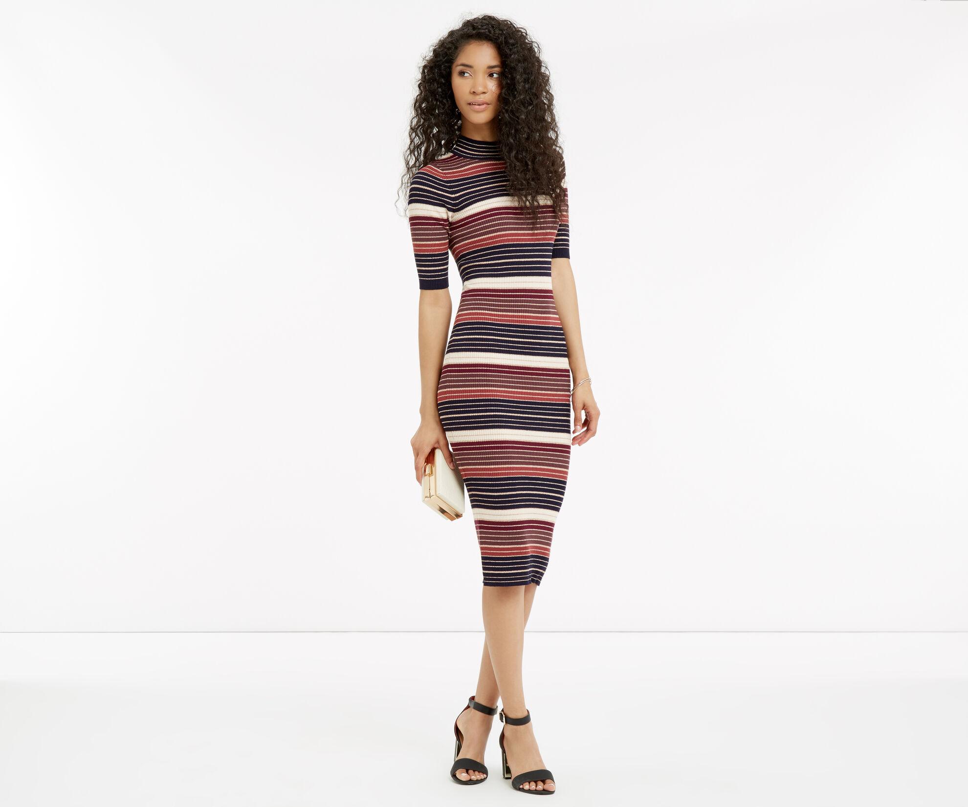 Oasis, Stripe sparkle midi dress Multi 1