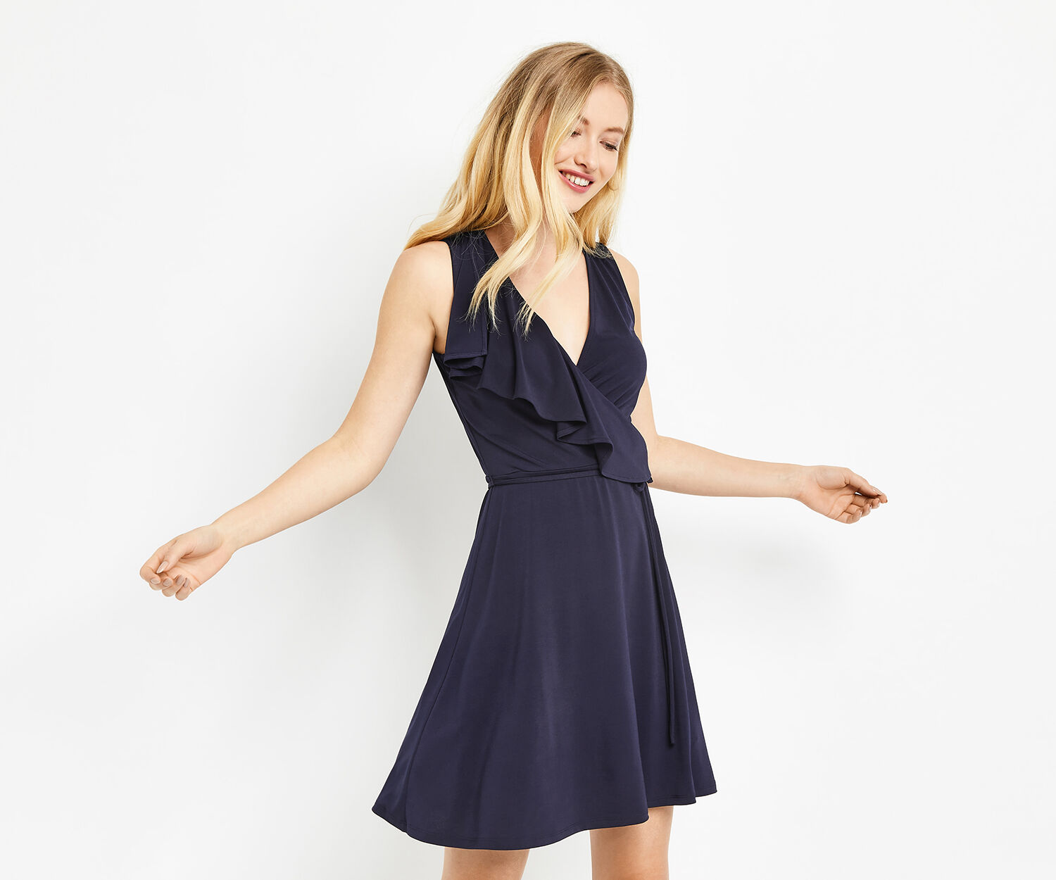 Oasis, CAP SLEEVE WRAP DRESS Navy 1