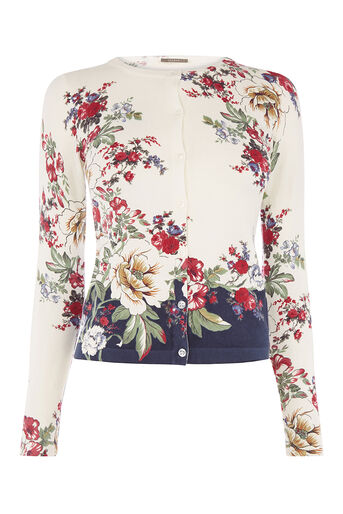 Oasis, BONNIE PLACEMENT PRINT CARDI Off White 0