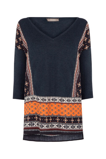 Oasis, Naomi Patched Jumper Multi Blue 0