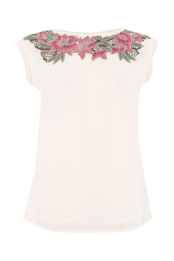 Oasis, FLORAL LACE TRIM TEE Off White 0