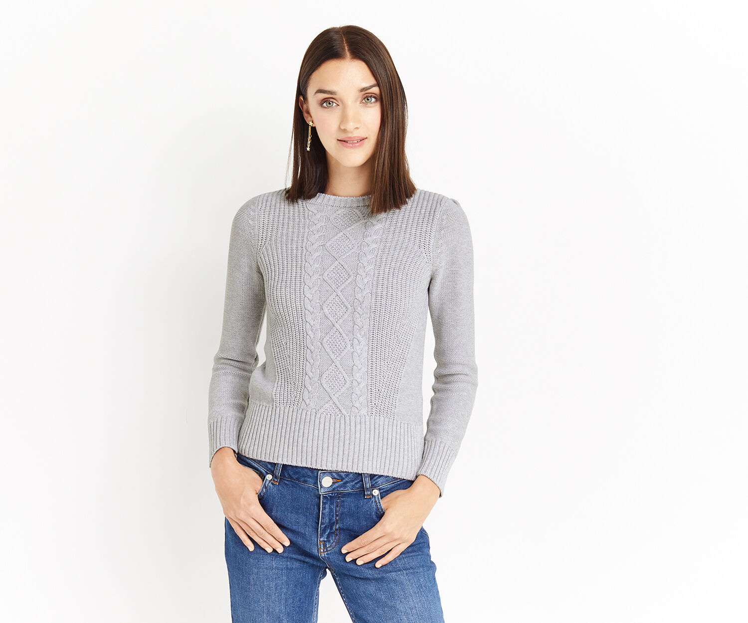Oasis, Laura cable knit Mid Grey 1
