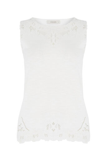 Oasis, Cutout Broderie Top White 0