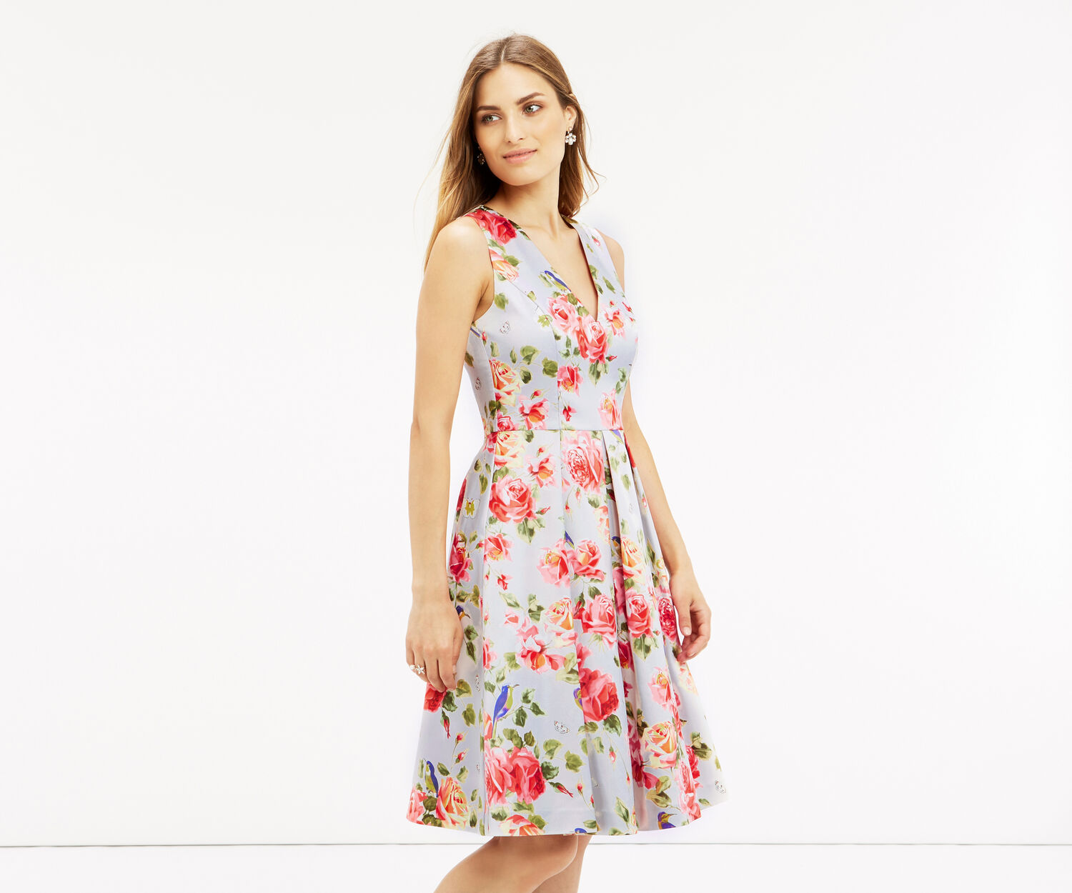 Oasis, LONG FLORAL SKATER DRESS Multi 1
