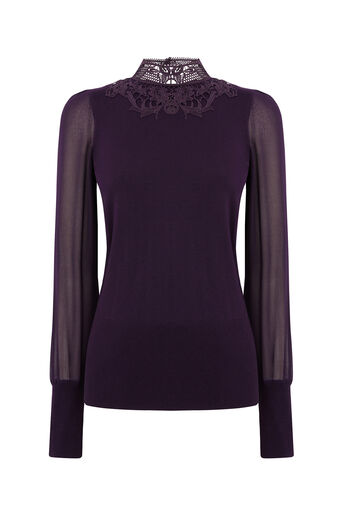 Oasis, LACE SHEER SLEEVE KNIT Dark Purple 0