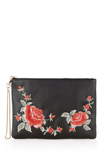 Oasis, BLOOM EMBROIDERED CLUTCH Multi Black 0