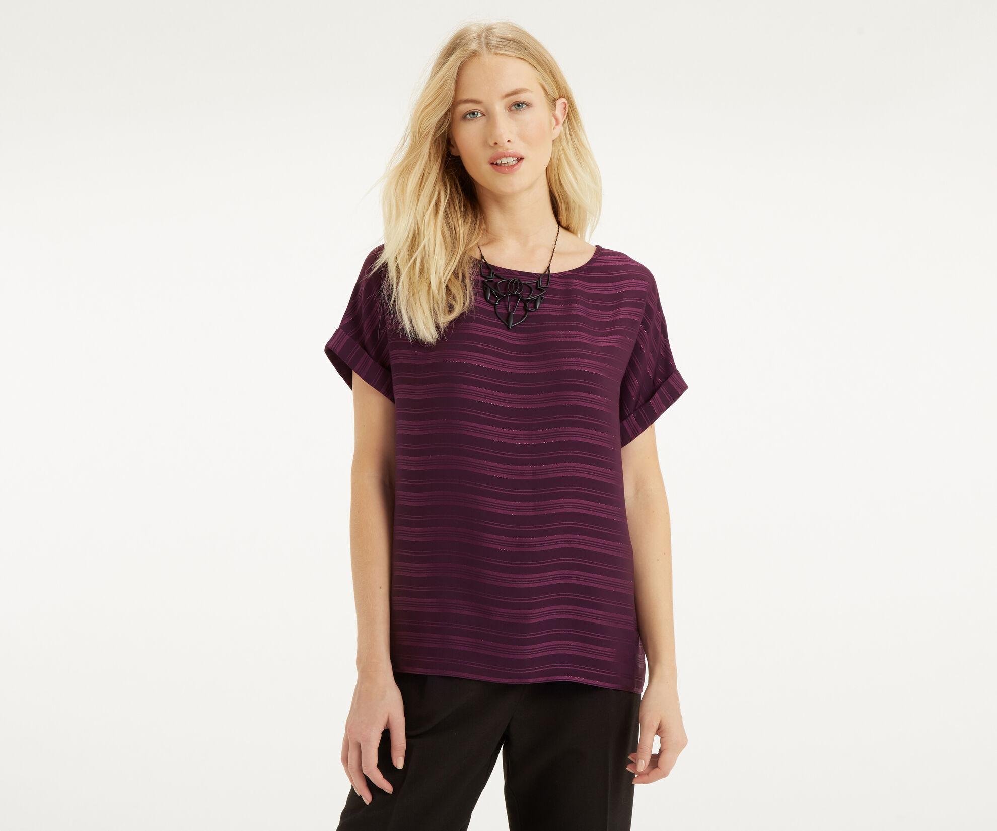 Oasis, Self Stripe Roll Sleeve T-Shir Mid Purple 1
