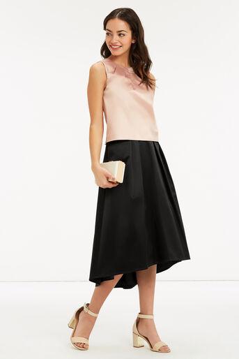 Oasis, Satin Dip Hem Skirt Black 2