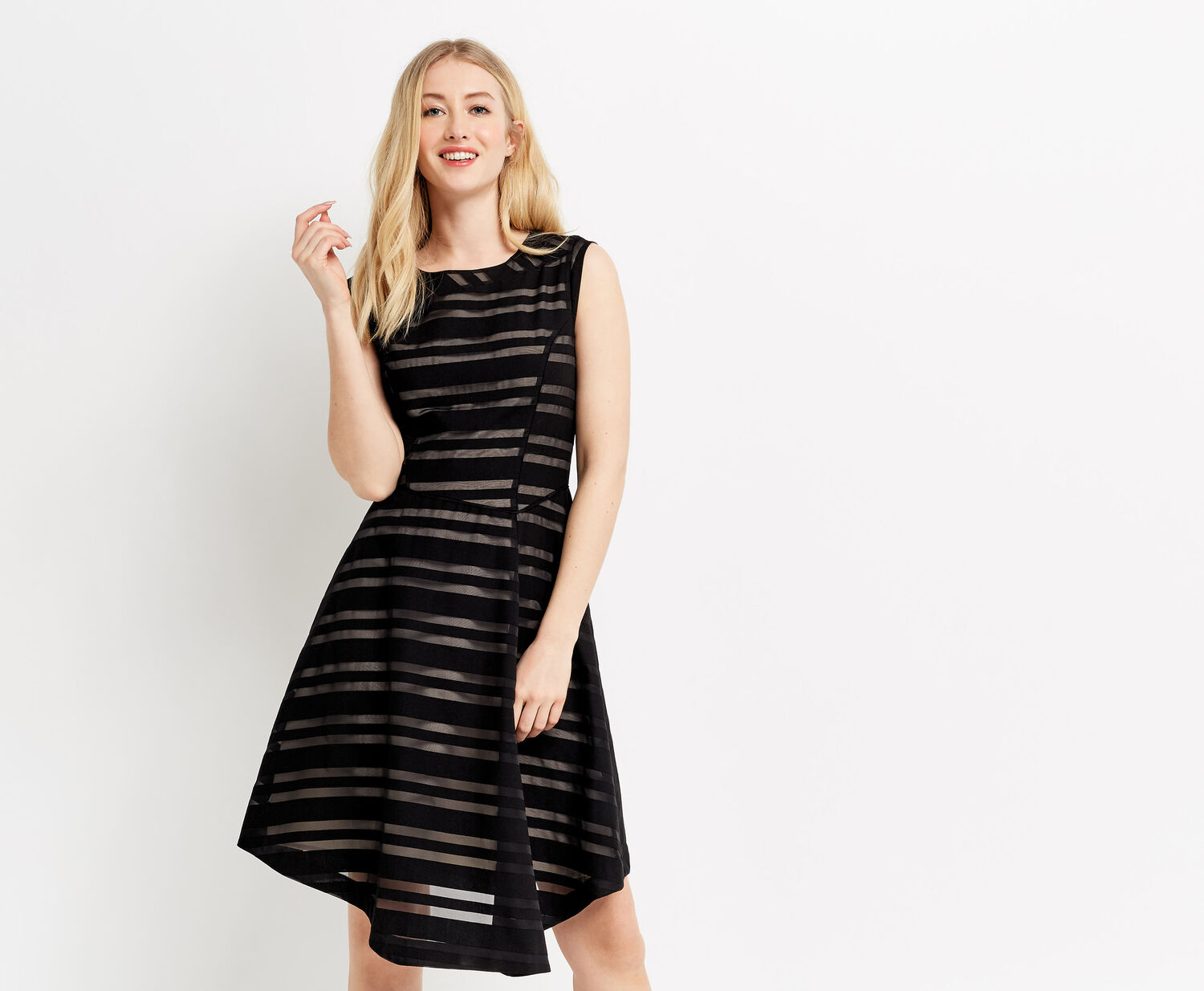 Oasis, STRIPE BURNOUT DRESS Black 1