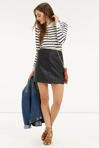 Oasis, FAUX LEATHER SCALLOP SKIRT Black 2
