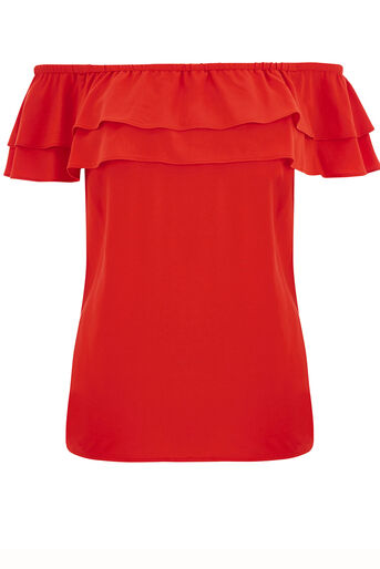 Oasis, Frill Bardot Top Mid Red 0