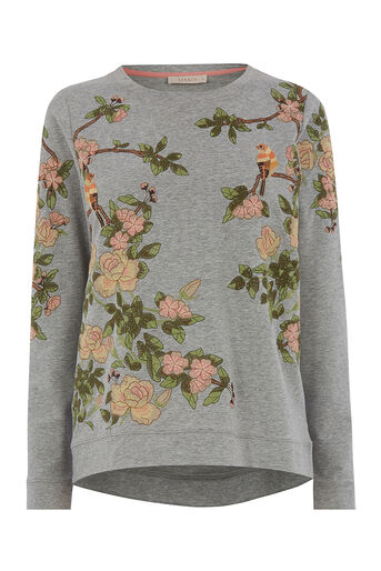 Oasis, blossom embroidered sweat Multi Grey 0