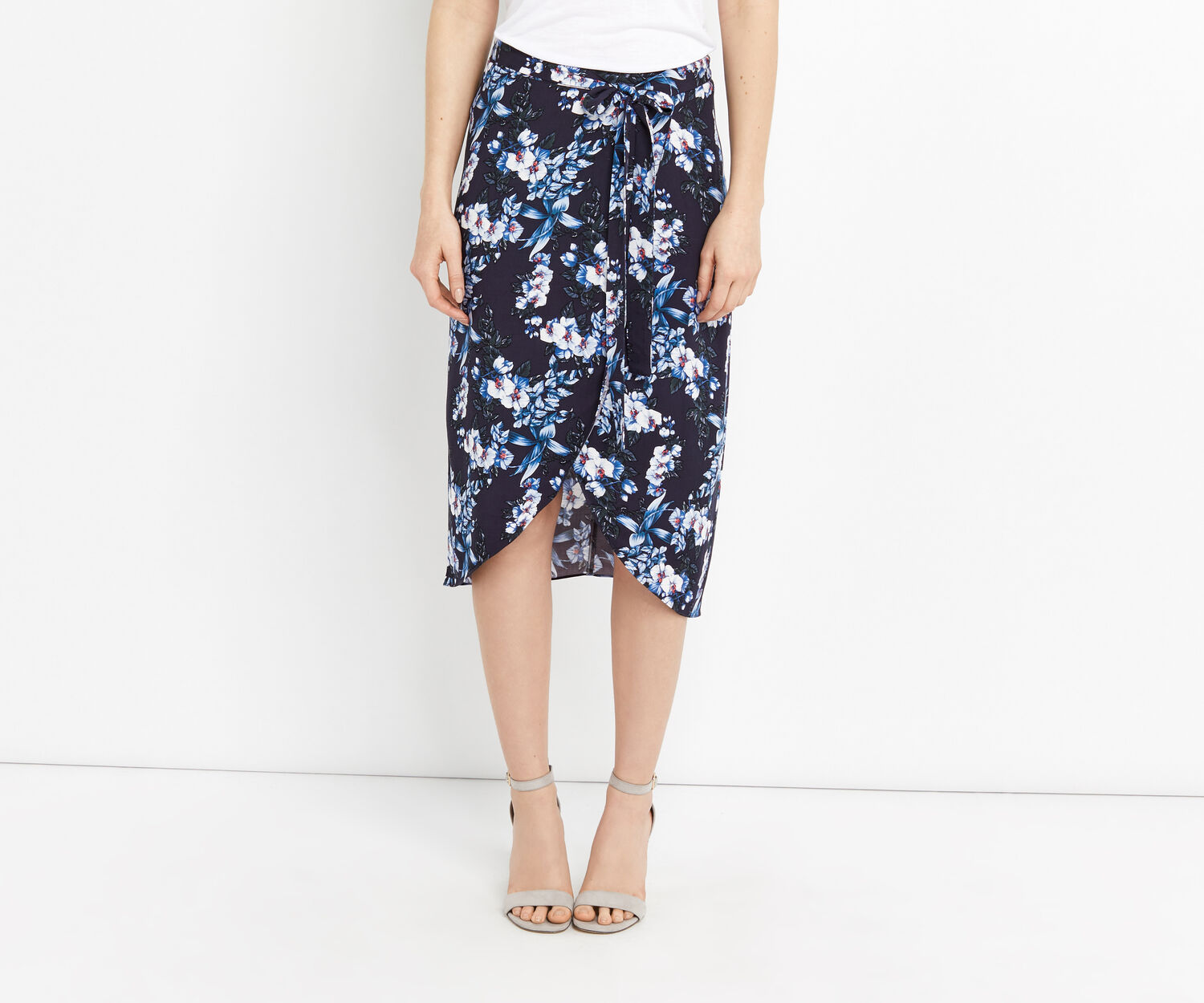 Oasis, TROPICAL BOTANICAL MIDI SKIRT Multi Blue 1
