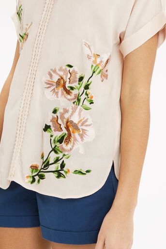 Oasis, Botany Embroidered V Nk T-Shir Off White 4