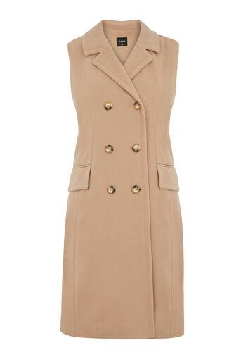 Oasis, Sleeveless Coat Camel 0