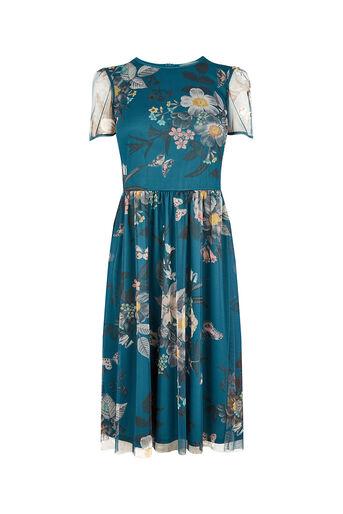 Oasis, MARIE MESH DRESS LONGER LENGTH Turquoise 0