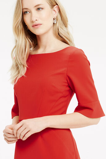 Oasis, Bell Sleeve Dress Mid Red 4