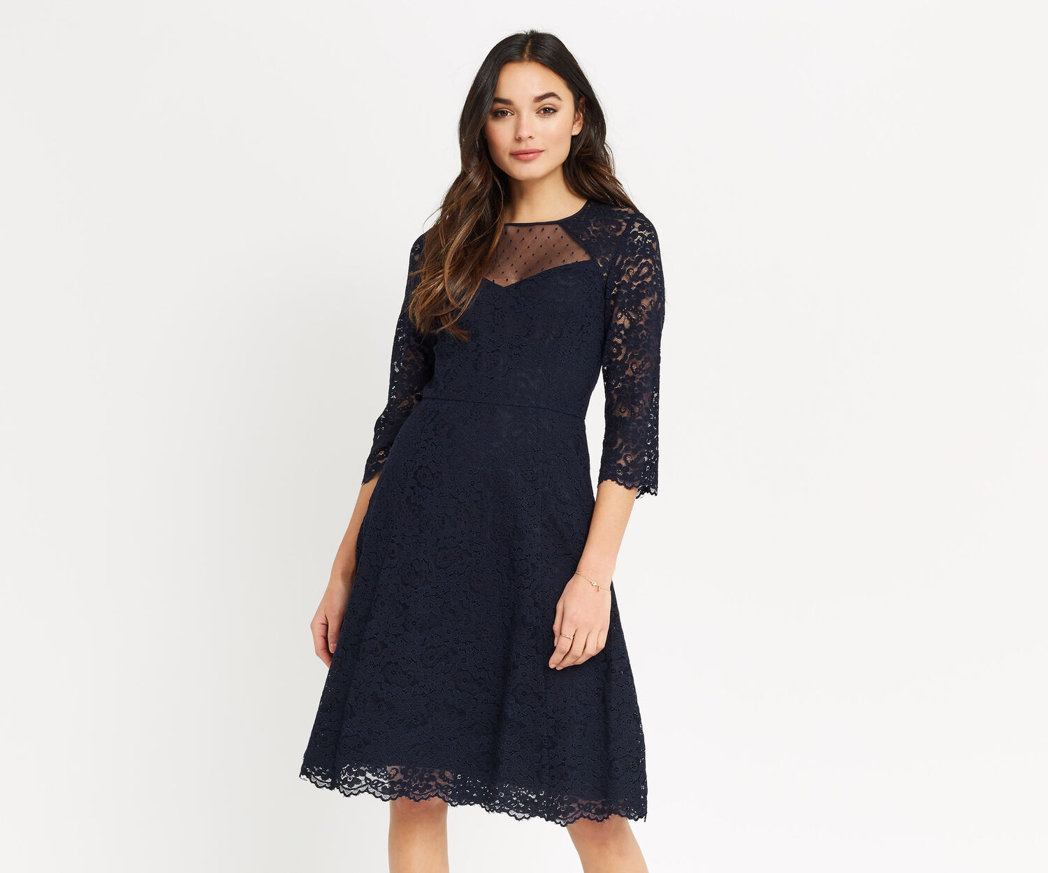 Oasis, LACE SLEEVE SKATER LONGER Navy 1