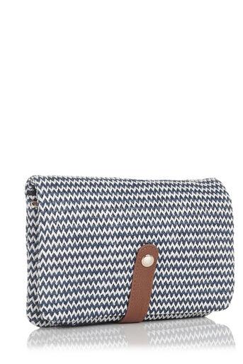 Oasis, Chevron Chain Clutch Bag Multi Blue 2