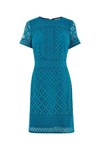 Oasis, ISLA LACE SHIFT DRESS Turquoise 0