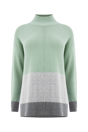 Oasis, Funnel neck colour block knit Teal Green 0