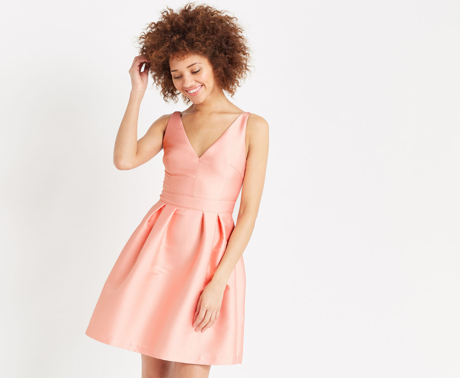 Oasis, SATIN FIT & FLARE DRESS Coral 1
