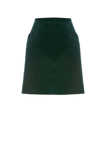 Oasis, CUT ABOUT CORD SKIRT Teal Green 0