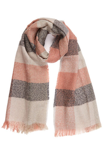 Oasis, PRETTY LUREX CHECK SCARF Multi Pink 0