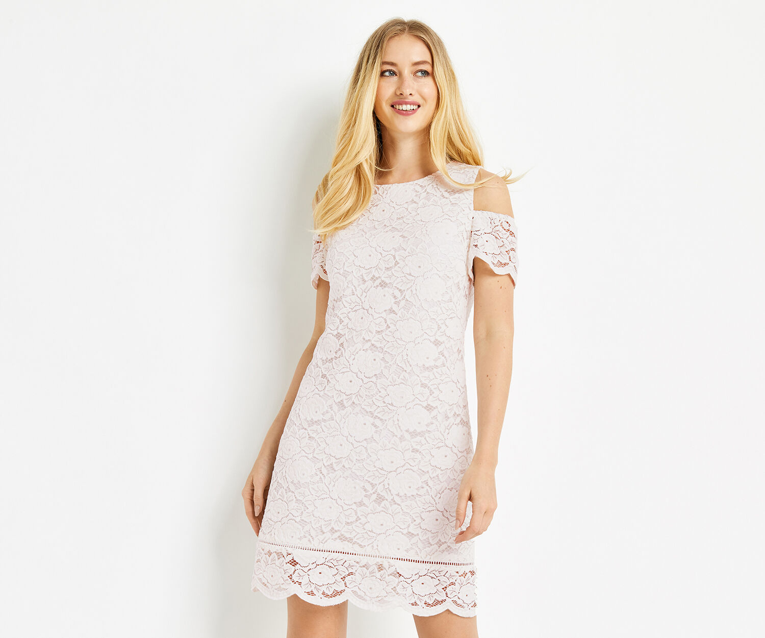 Oasis, COLD SHOULDER LACE DRESS White 1