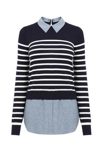 Oasis, Stripe chambray shirt tails Multi Blue 0