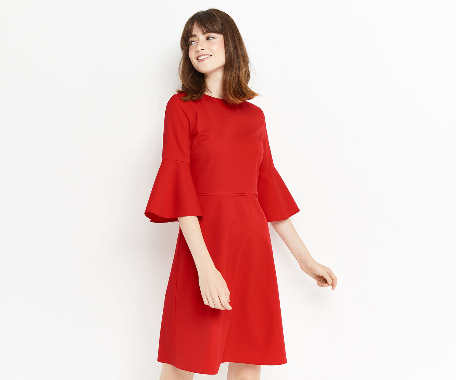Oasis, FLUTE SLEEVE DRESS LONG Rich Red 1