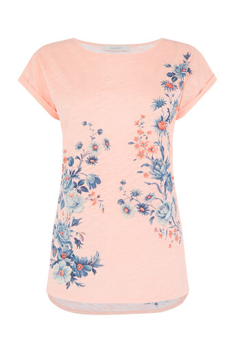 Oasis, Tonal Rose Placement T-Shirt Pale Pink 0