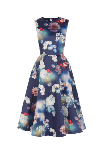 Oasis, PHOTOGRAPHIC SATIN MIDI DRESS Multi Blue 0