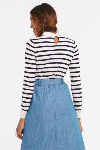 Oasis, Stripe embellished collar knit Multi 3