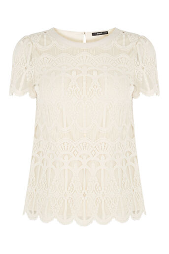 Oasis, Deco Lace Top Off White 0