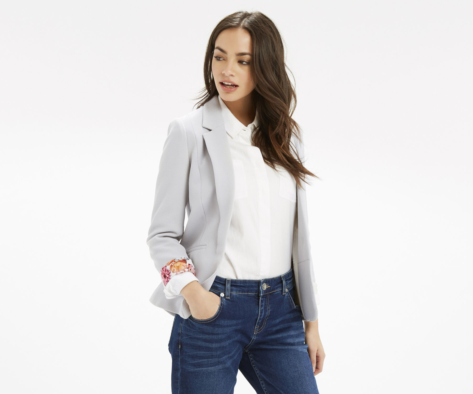 Oasis, Tailored Textured Jacket Pale Grey 1
